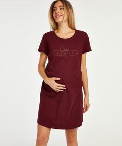 Kortarmet nattskjorte for gravide, Rød