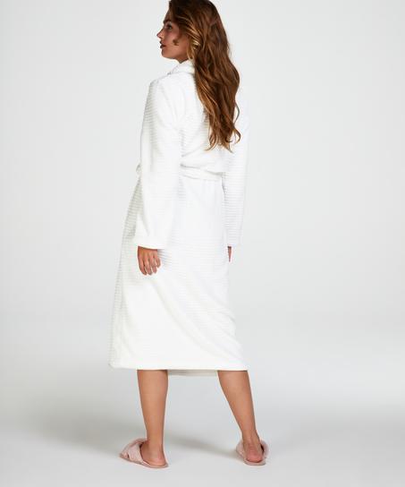 Fleece rib lang badekåpe, Hvit