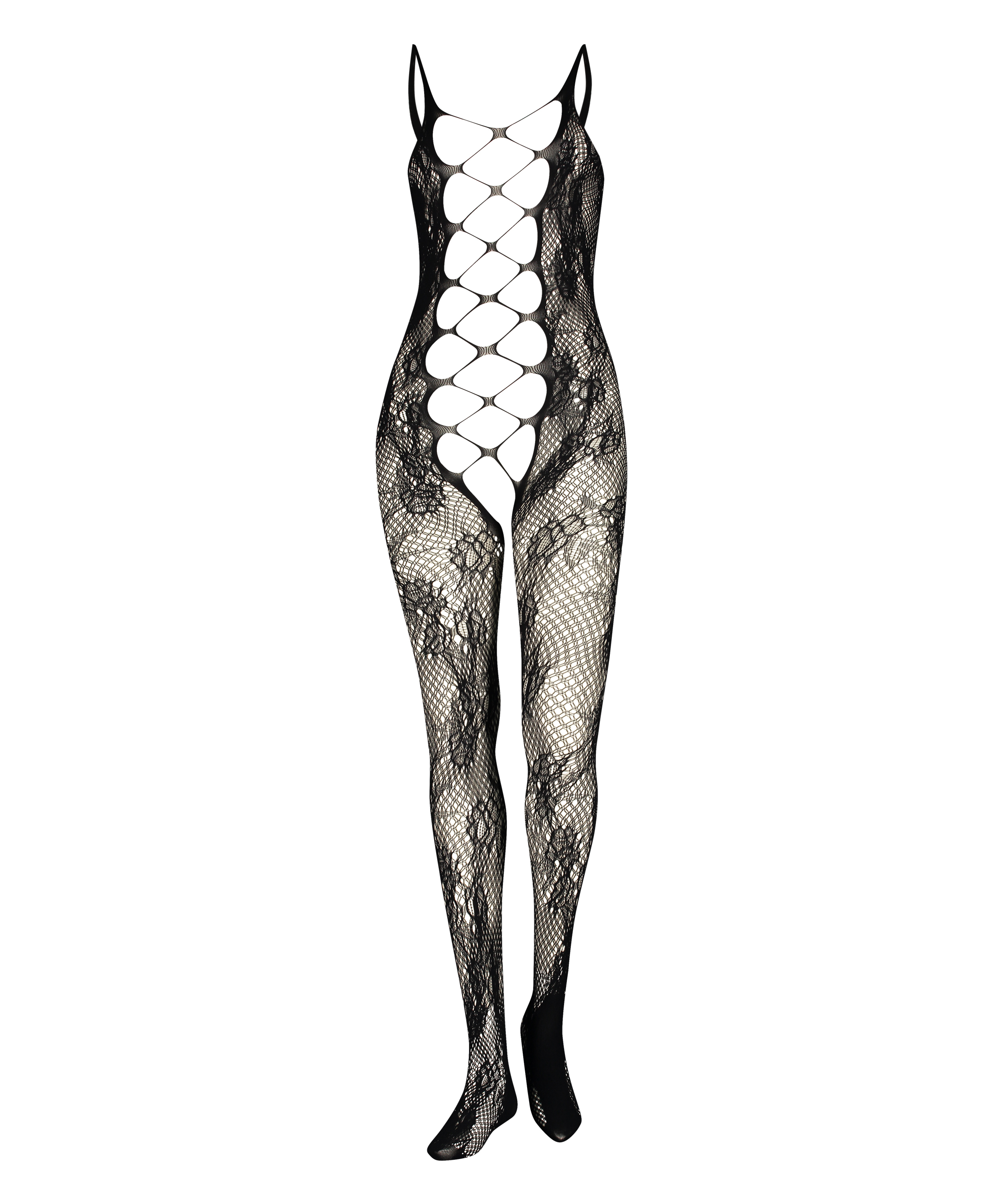 Private open lace catsuit, Svart, main