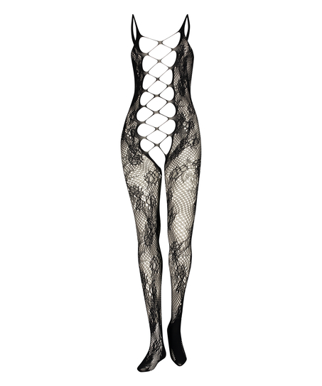 Private open lace catsuit, Svart