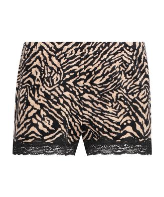 Zebra velur shorts, Svart