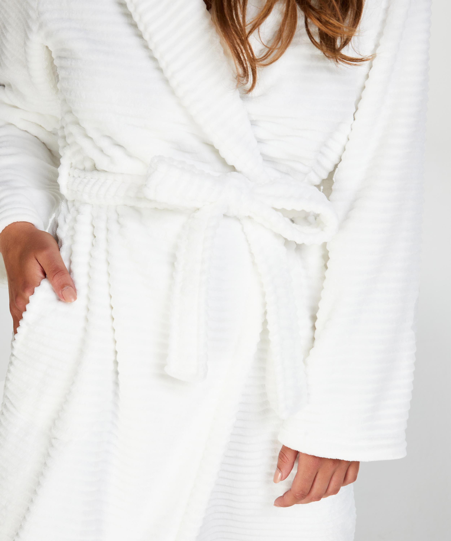 Fleece rib lang badekåpe, Hvit, main