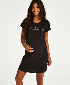 Kortarmet nattskjorte for gravide, Svart