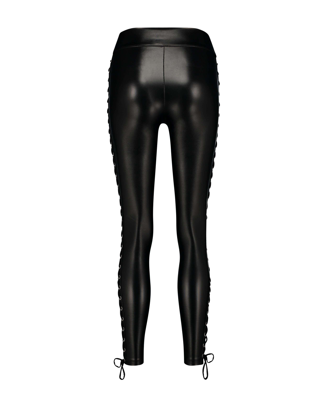 Lace up tights, Svart, main