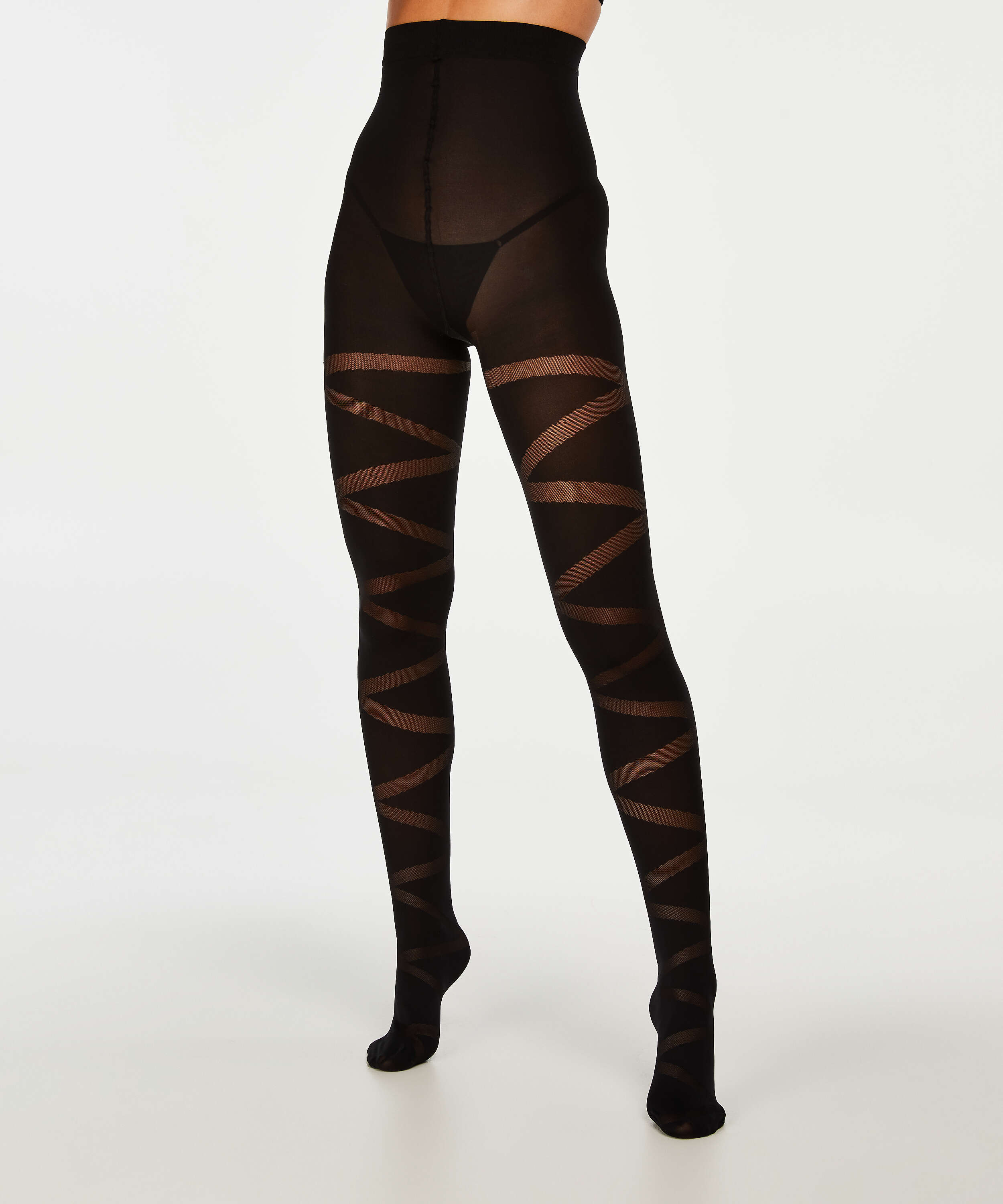 40 Denier Reversed Gladiator tights, Svart, main