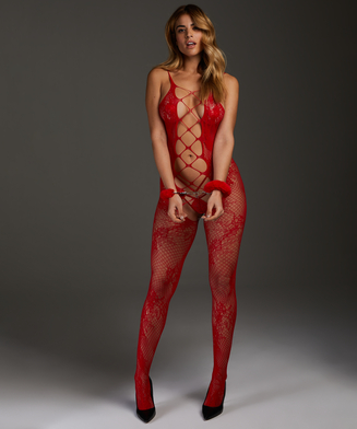 Private open lace catsuit, Rød