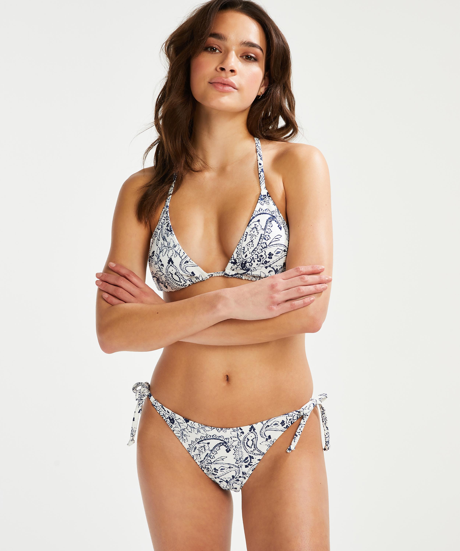 Paisley brasiliansk tanga bikiniunderdel, Hvit, main