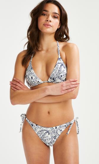 Paisley brasiliansk tanga bikiniunderdel, Hvit