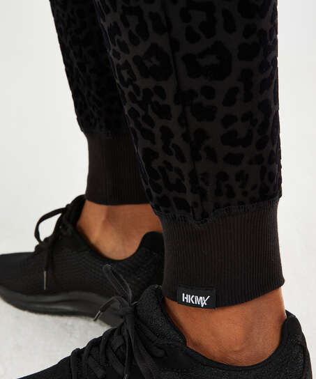 HKMX Leopard joggebukser, Svart