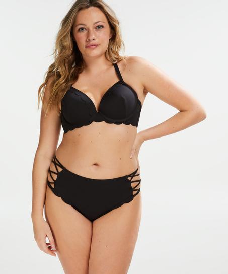 Scallop Goddess høy frekk bikinitruse, Svart