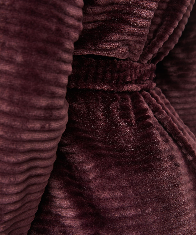 Fleece rib kort badekåpe, Rød, main