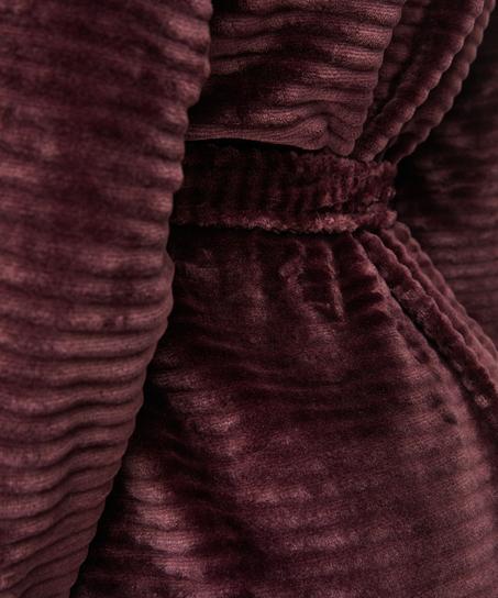 Fleece rib kort badekåpe, Rød