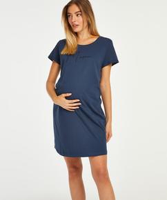 Kortarmet nattskjorte for gravide, Blå