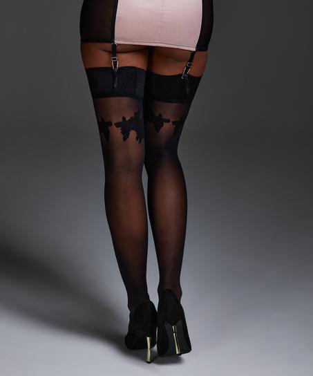 Noir satin top stocking, Svart