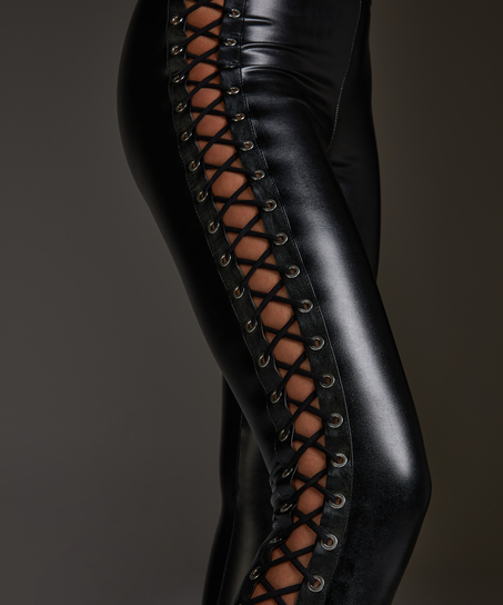 Lace up tights, Svart