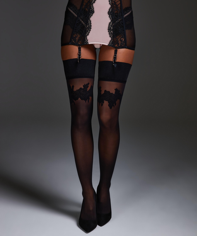 Noir satin top stocking, Svart, main
