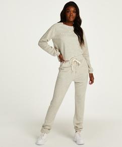 Lang pysjamasbukse med børstet bakside, Grå
