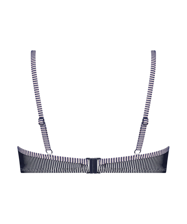Ruffle Strip polstret bikinitopp med spiler, Blå, main