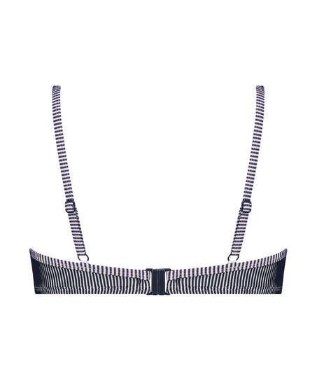 Ruffle Strip polstret bikinitopp med spiler, Blå