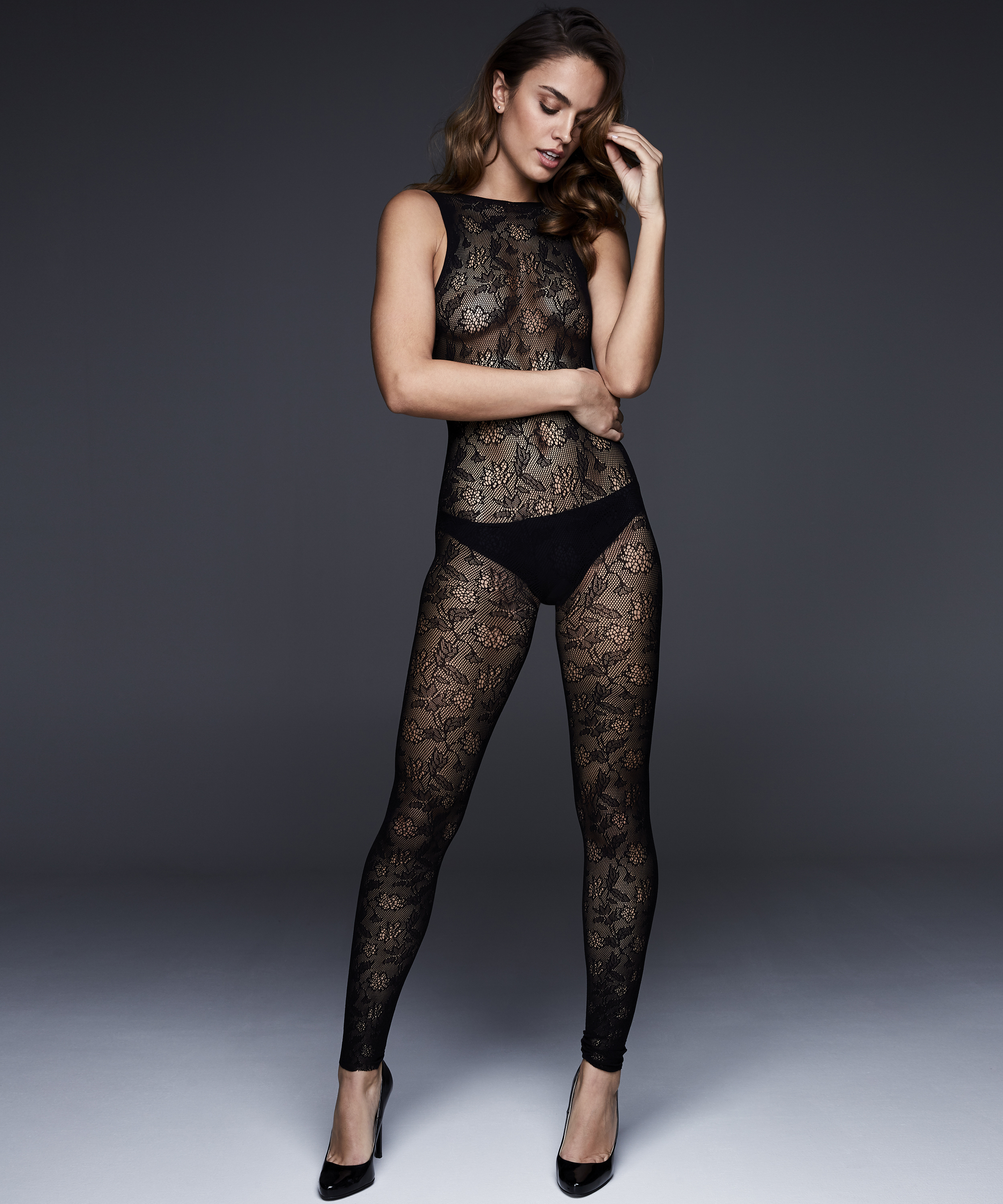 Private catsuit-tights, Svart, main