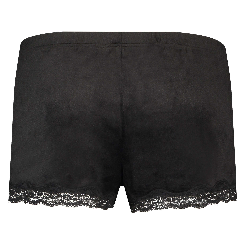 Velvet lace shorts, Svart, main