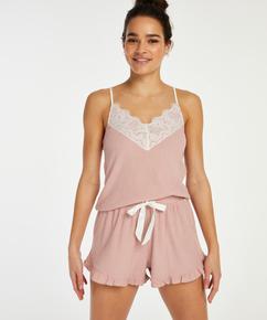 Brushed Rib Lace shorts, Rosa