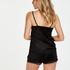 Velvet lace shorts, Svart
