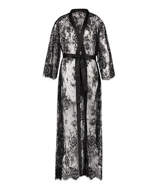 Long Allover Lace Kimono , Svart