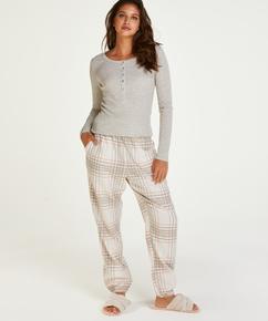 Twill Check pysjamasbukse, Grå
