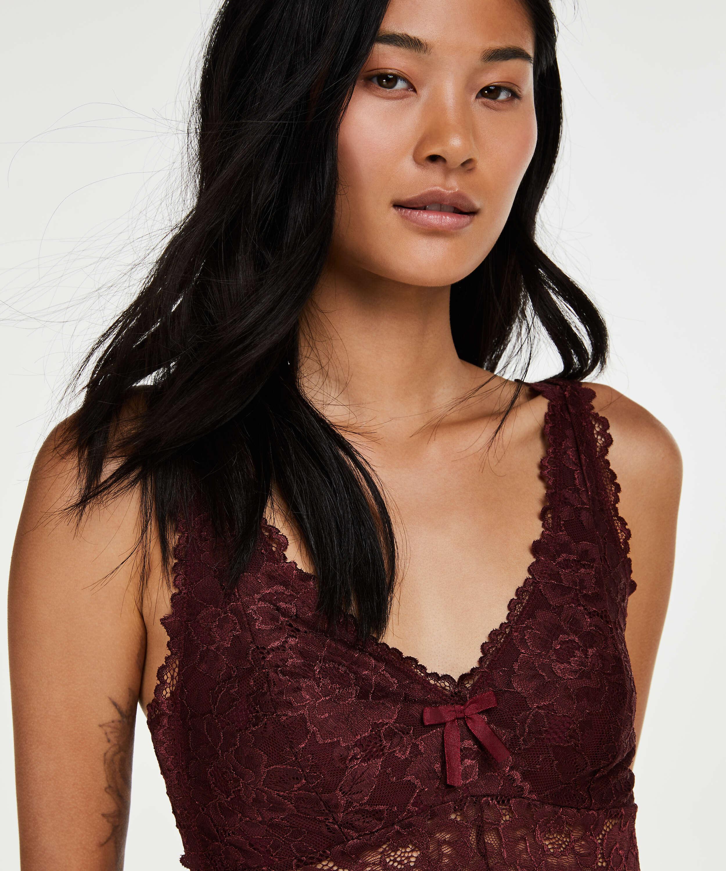 Modal Lace lang slipkjole, Rød, main