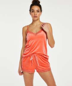 Velvet lace shorts, Oransje