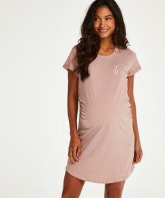 Kortarmet nattskjorte for gravide, Rosa
