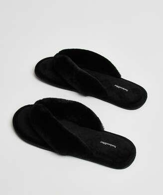 Slippers Velours fur, Svart