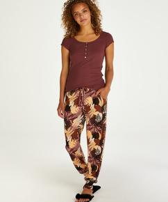 Jersey Abstract Leaf tall pysjamasbukse, Rosa