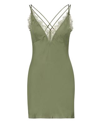 Lily slipkjole i sateng, Grønn