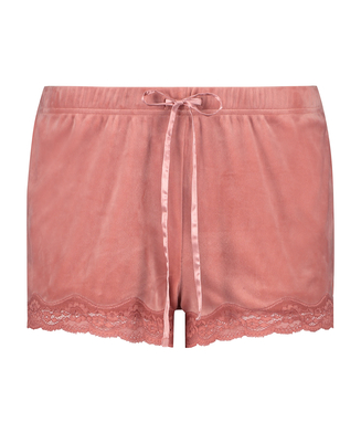 Velvet lace shorts, Rosa
