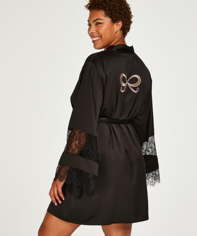 Kimono med satengblonder, Svart, main