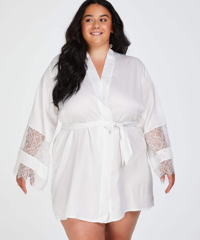 Kimono Bridal i sateng, Hvit, main