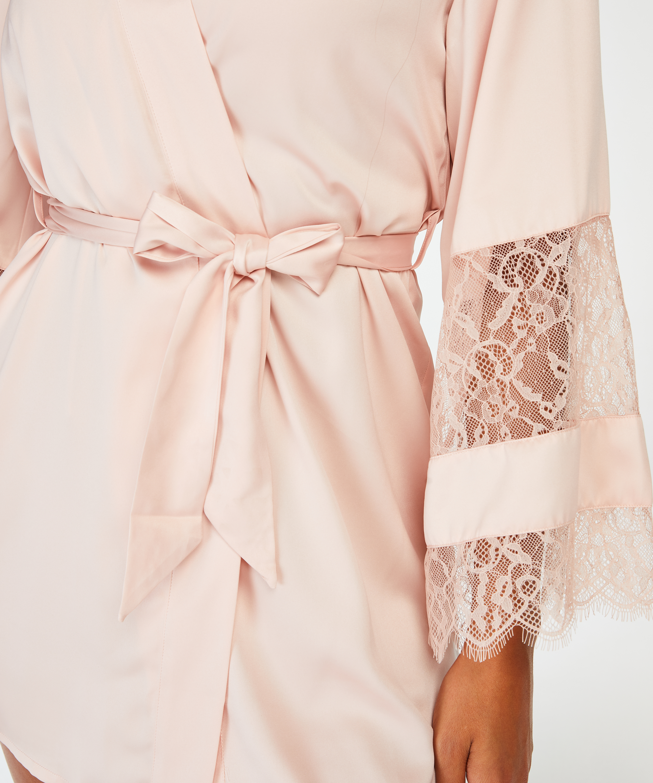 Kimono med satengblonder, Rosa, main