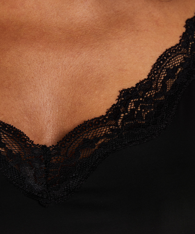Glattende underkjole i blonder – Nivå 1, Svart, main