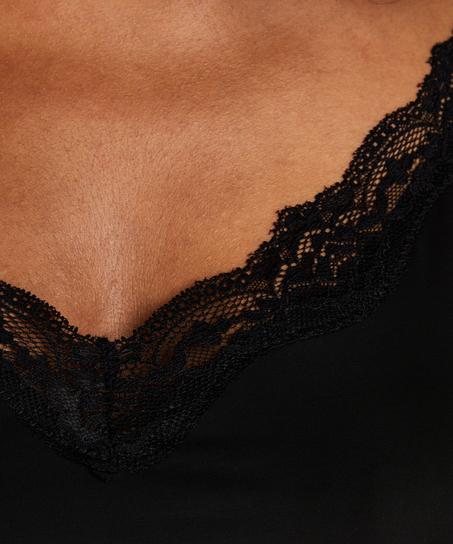 Glattende underkjole i blonder – Nivå 1, Svart