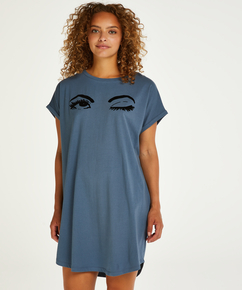 Nattskjorte med rund hals, Blå