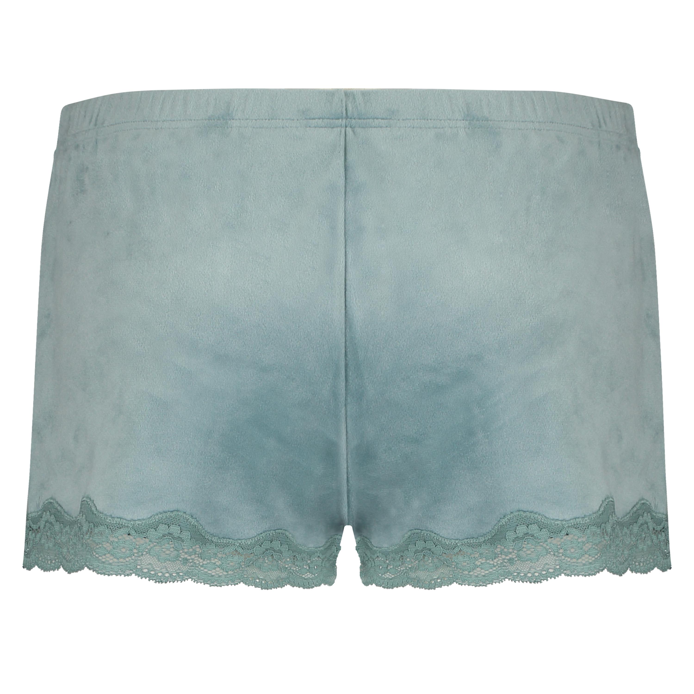 Velvet lace shorts, Grønn, main