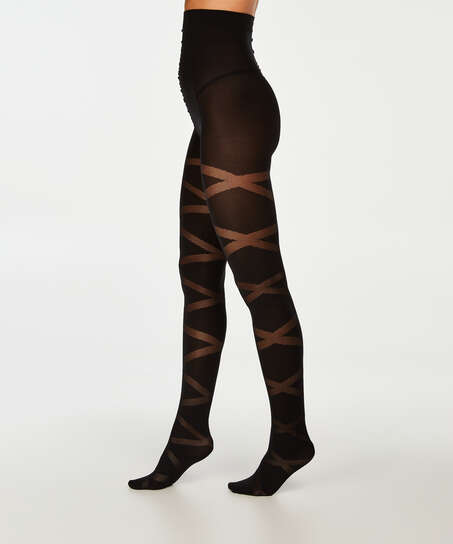 40 Denier Reversed Gladiator tights, Svart
