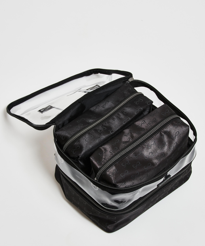 3 pack make-up bag, Svart, main