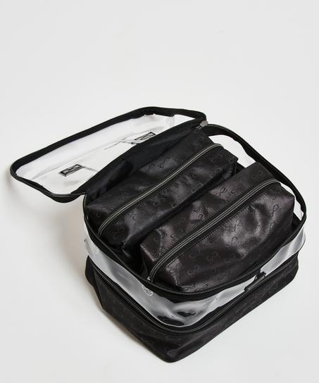 3 pack make-up bag, Svart