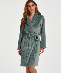 Fleece rib kort badekåpe, Grønn