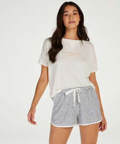 Brushed Stripe kort pysjamasbukse, Grå