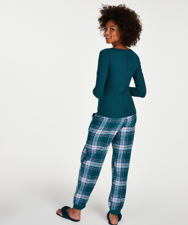 Langarmet pyjamastopp , Blå, main