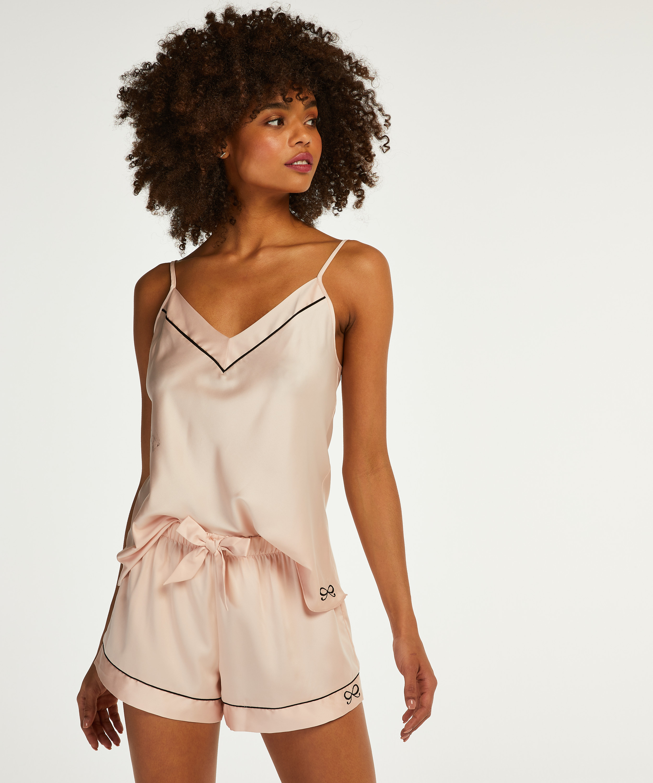 Satin Lace pyjamashhorts, Rosa, main